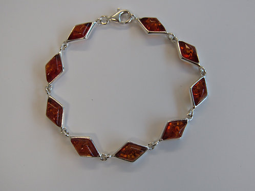 Sterling silver with cognac amber diamond shapes