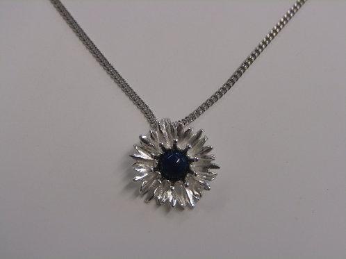 Sterling silver cornflower pendant with lapiz lazuli