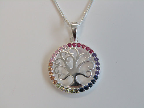 Sterling silver multi coloured cz tree of life
