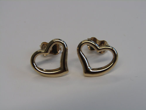 9ct yellow gold open heart studs