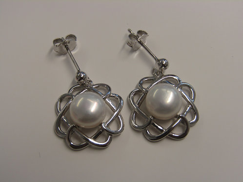 Sterling silver celtic knot pearl drops