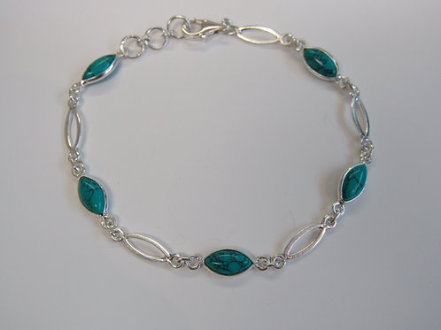 Sterling silver turquoise marquis link bracelet