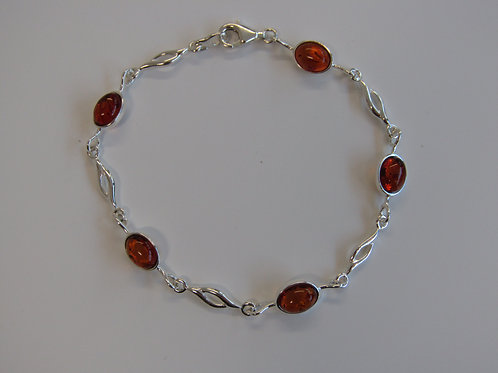 Sterling silver with cognac amber ovals