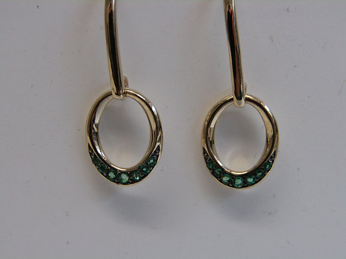 9ct yellow gold and emerald pave drops