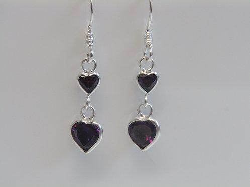 Sterling silver purple cubic zirconia hearts