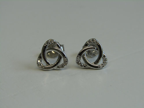 Sterling silver triquetra studs with cubic zirconia
