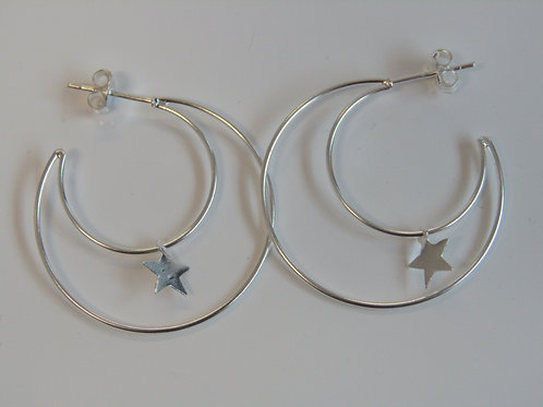Sterling silver crescent moon hoops with hanging star