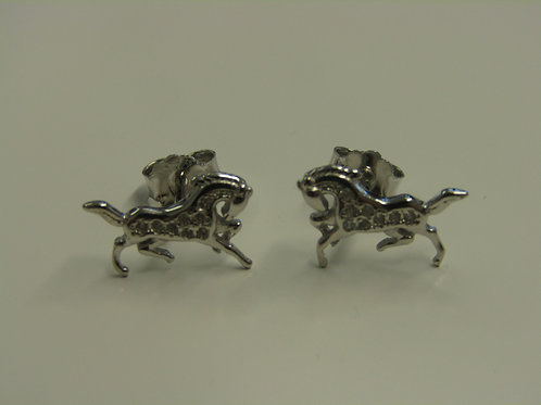 Sterling silver horse studs with cubic zirconia
