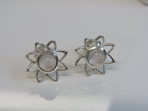 Sterling silver flowers with rose quartz