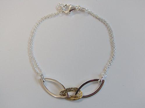 Sterling silver two tone oval bracelet