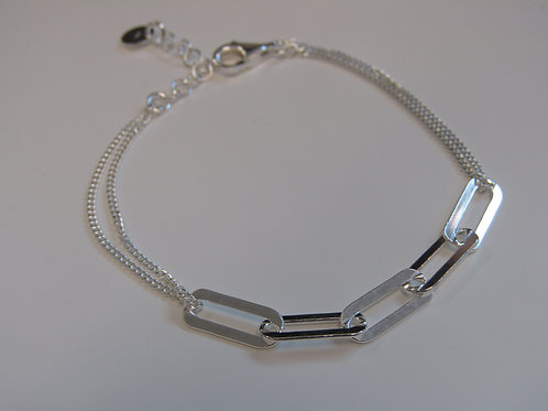 Sterling silver link bracelet with double chain