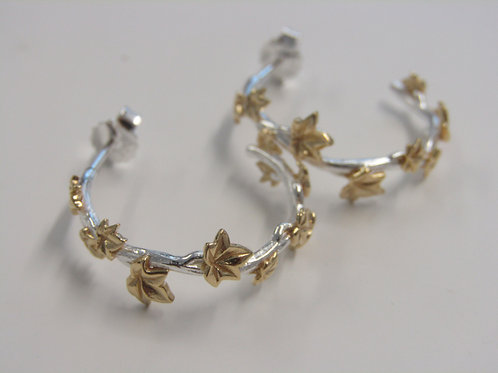 Sterling silver with gold plate leaves stud hoops