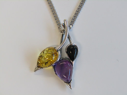 Sterling silver beech leaf  amber and amethyst necklace