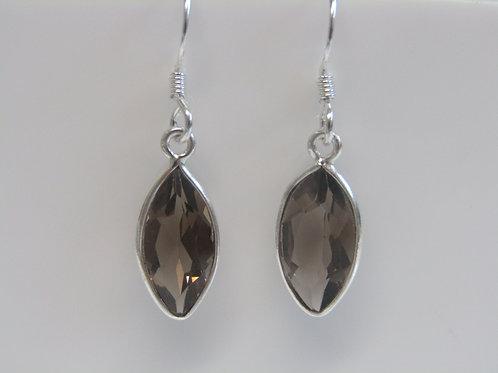 Sterling silver smokey quartz marquis drops