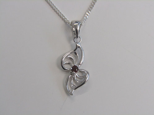 Sterling silver bow with garnet stone