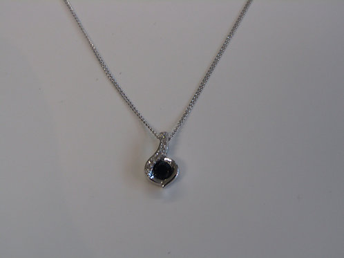 9ct white gold sapphire and diamond swirl pendant