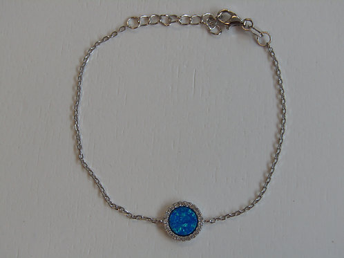 Sterling silver and sky blue opal with cubic zirconia