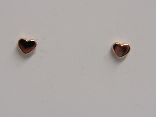 9ct rose gold heart studs
