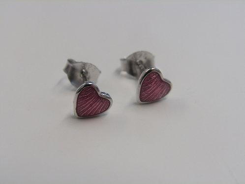 Sterling silver pink enamel hearts