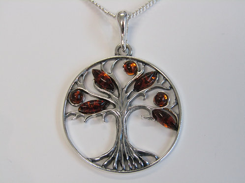 Sterling silver tree of life with cognac amber