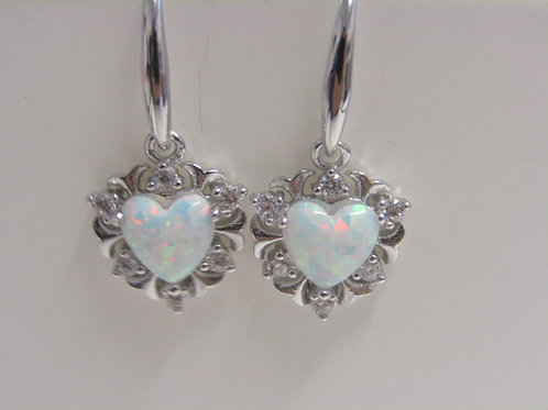 Sterling silver snow opal and cz heart drops