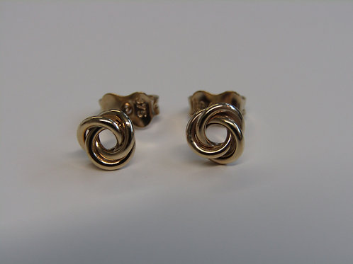 9ct yellow gold open knot studs