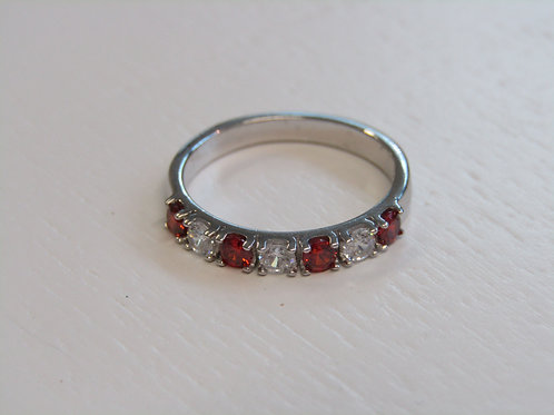 Sterling silver ruby and clear cz half eternity ring