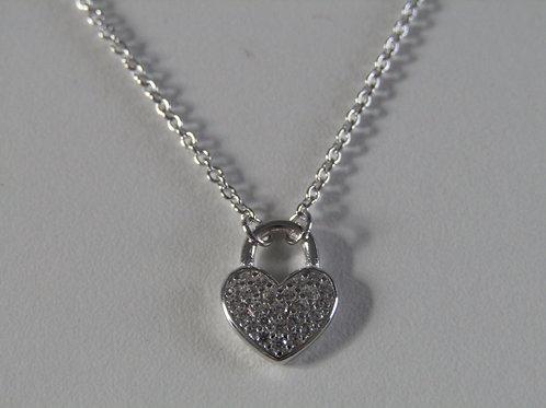 Sterling silver cubic zirconia heart padlock