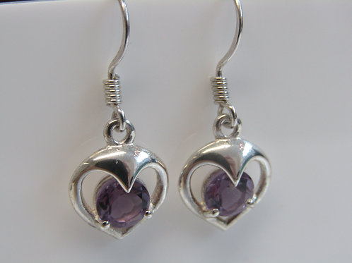 Sterling silver amethyst in a heart setting