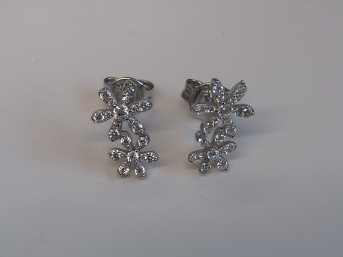 Sterling silver flowers  with cubic zirconia
