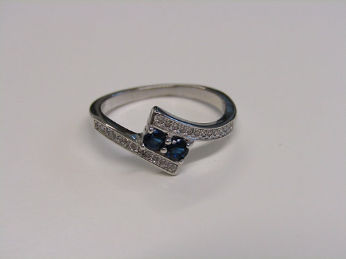 Sterling silver sapphire and clear cubic zirconia ring
