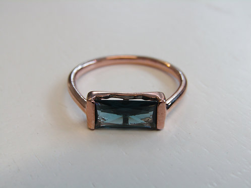 Fiorelli silver rose gold plated blue baguette ring