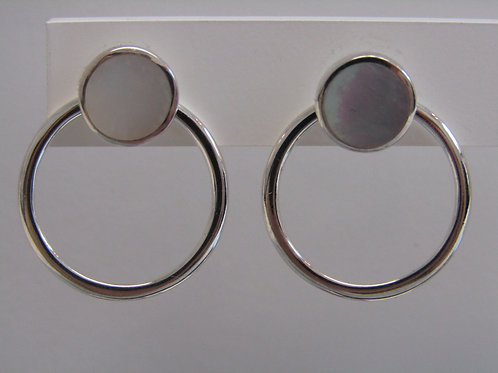 Sterling silver Mother of pearl Multiwear studs with circles