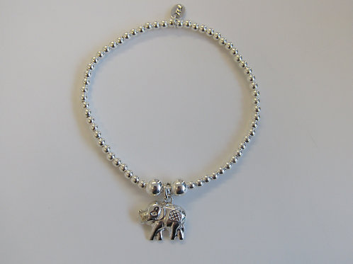 "Sterling silver stretchy bead bracelet with ""elephant charm"""