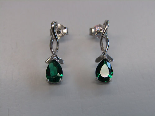 Sterling silver emerald stud drops
