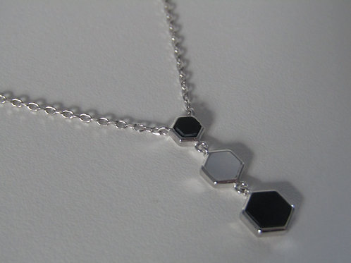 Sterling silver mother of pearl and onyx necklace