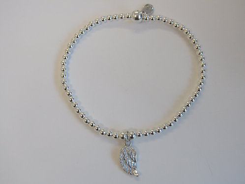 "Sterling silver stretchy bead bracelet with ""angel wing"" charm"