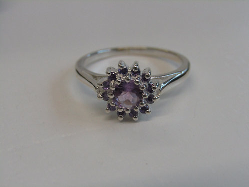 Sterling silver facetted amethyst cluster ring