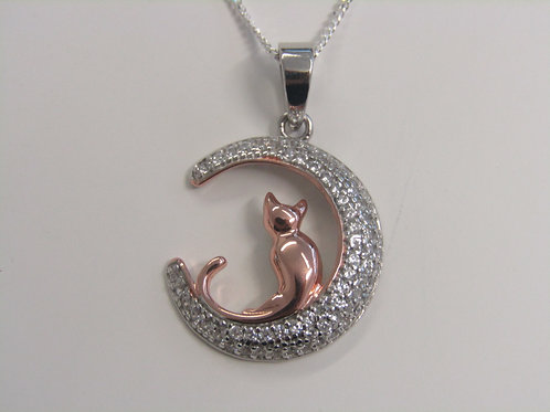 Sterling silver cat in a crescent moon