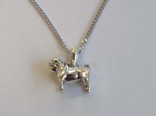Sterling silver miniature pug pendant