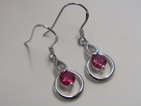 Sterling silver and created ruby drops