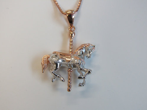 Sterling silver carousel horse with rose gold plating