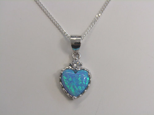 Sterling silver sky opal and cubic zirconia heart pendant