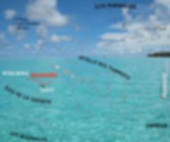 Tahiti map Polynesia: Marquesas, Tuamotu, Australes, Society with Huahine