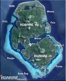 Huahine island Tahiti Polynesia airview map