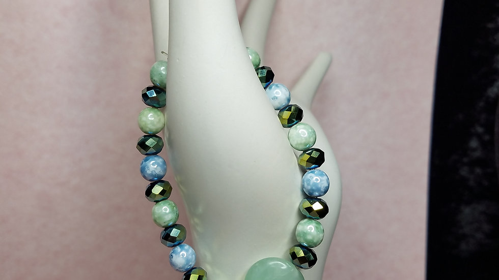 Shades of Blue and Green Glass Bead Bracelet