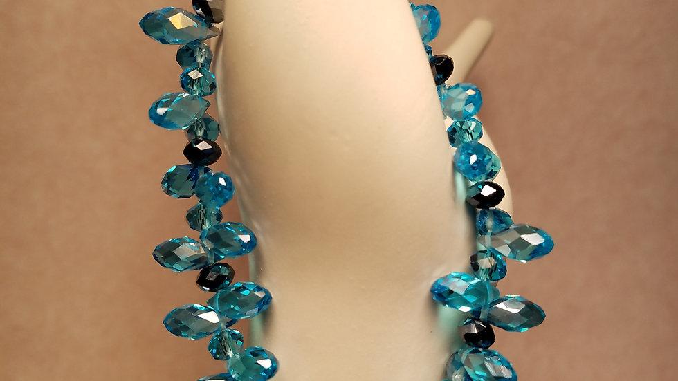 Blue Glass Tear Drop and Black Rondelle Bracelet