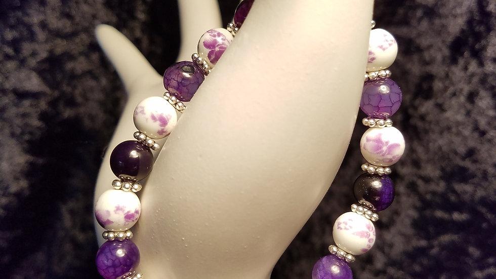Purple and White Round Glass Bead Bracelet