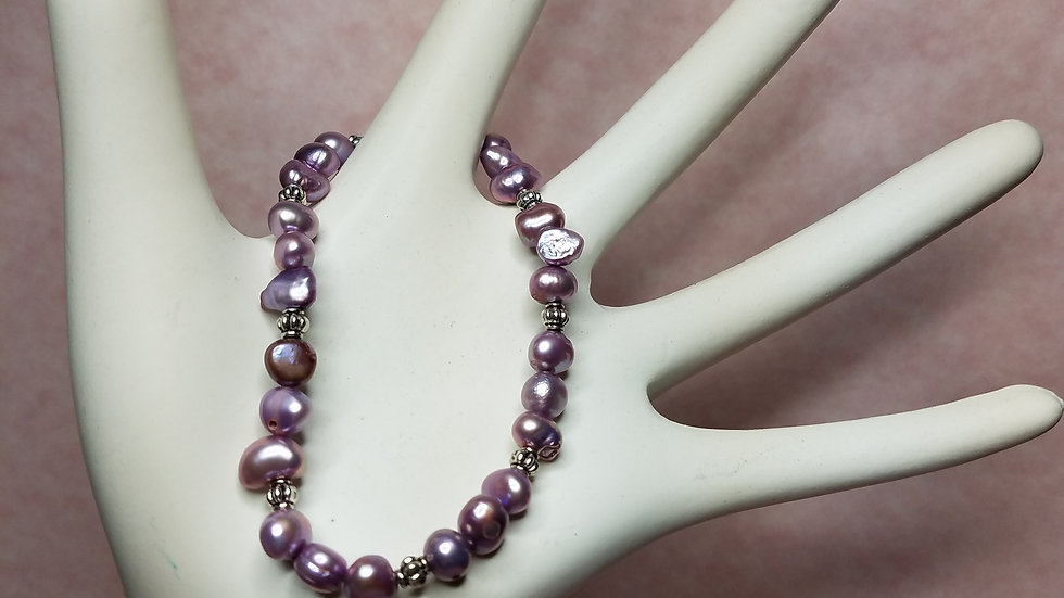 Fresh Water Pearl Bracelet - Lavender - Silver Plated Lobster Claw