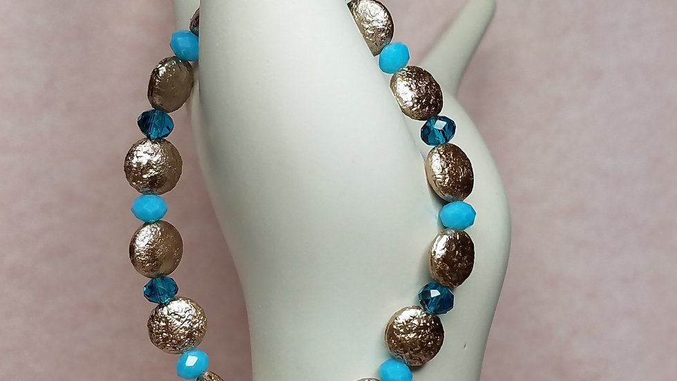 Taupe Disc Beads with Teal Rondelles